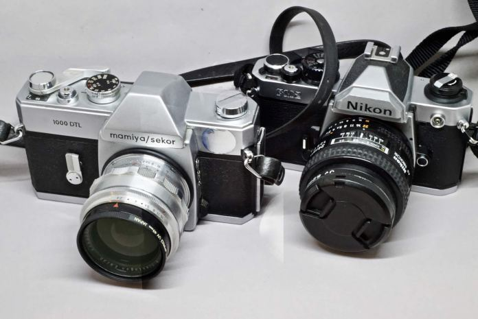 Mamiya-Sekor 1000DTL (left) and Nikon FM2