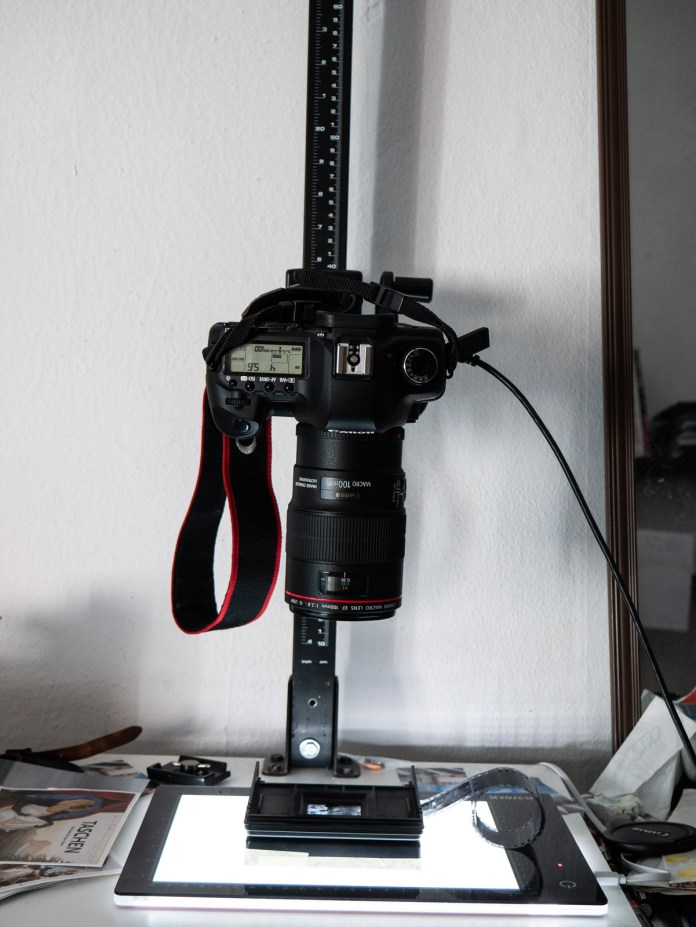 Digitization Setup: Canon 5D II / 100mm 2.8 L macro on repro-stand; Kaiser negative carrier on Kaiser Slimlight-Plano.