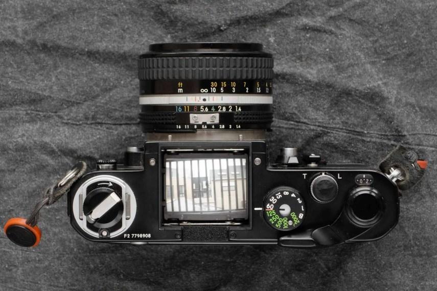 Nikon F2 top-down, no finder