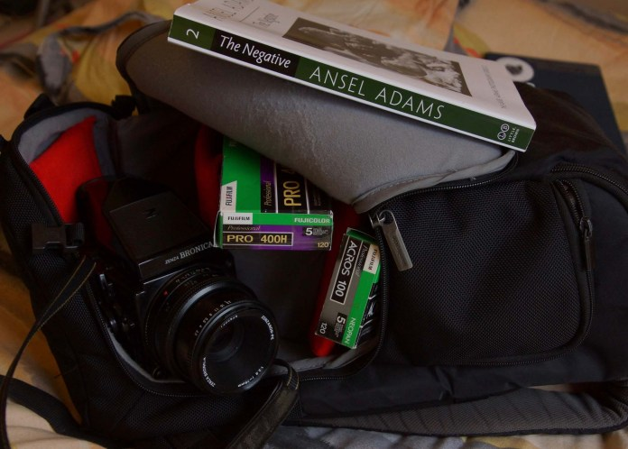 Bronica ETRSi, bag, film and book