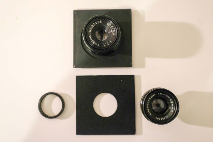 Budget darkroom - 50mm and 80mm lens and lens board