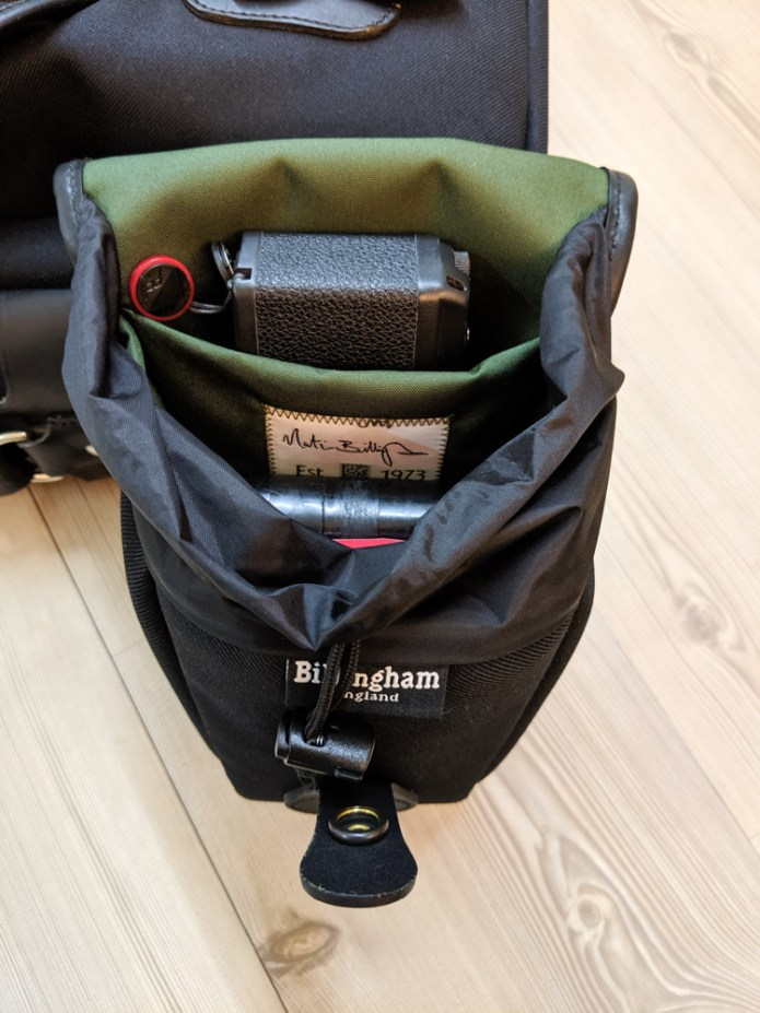 Billingham AVEA 8 end pocket (with Ricoh GR1s, 120 and 135 JCH film cases - open)