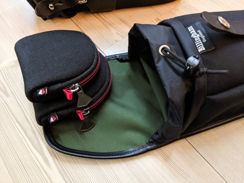 Billingham AVEA 8 end pocket (with 77mm + 52mm filters in pouches) - open)