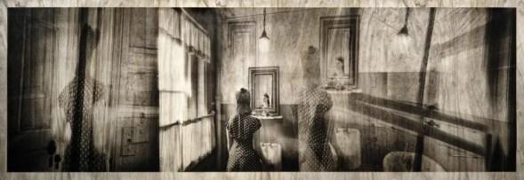 Mirror - In-camera collage on film, 27x84 inches, direct pigment on cherry wood - Cinestill Df96 - Stephen Schaub