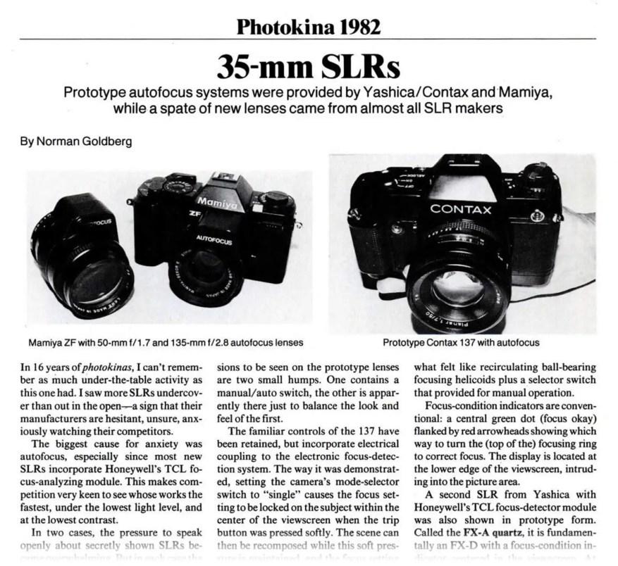 Analog Photographer Jan 1983: Photokina 1982 - CONTAX 137 MD Prototype