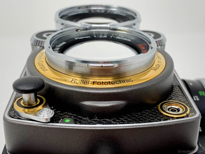 Rolleiflex 2.8GX Expression 75 Years Edition - Shutter button up close