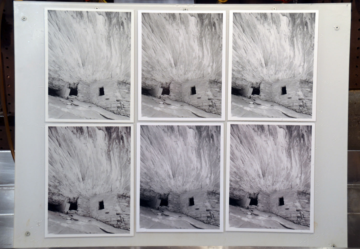 Negative #980 enlargement comparison (left to right). Top row - Adox, ILFORD MGIV and MG RC untoned. Bottom row - Adox, ILFORD MGIV and MG RC toned.