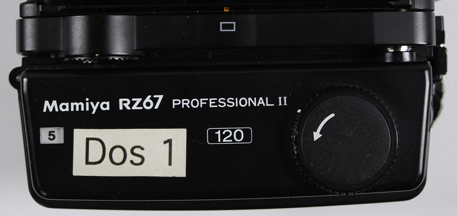 Mamiya RZ67 film back in landscape orientation