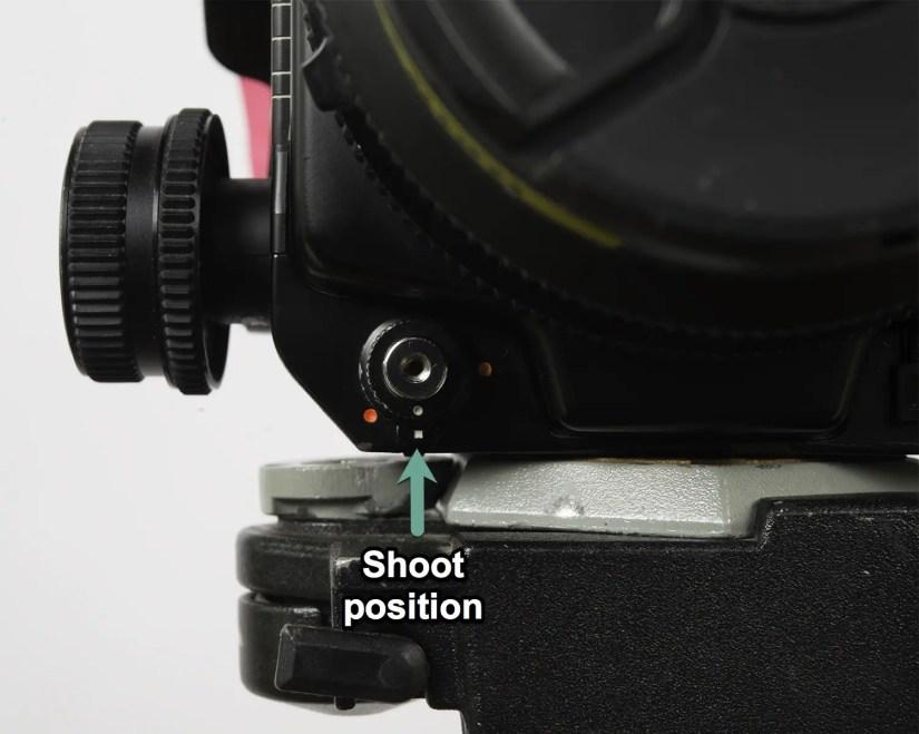 "Mamiya RZ67 - shutter set to ""shoot"" position"
