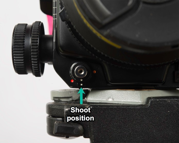 "Mamiya RZ67 - shutter set to ""shoot"" position"