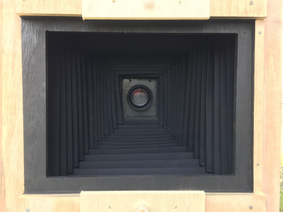 View of inside the camera with focusing screen removed.