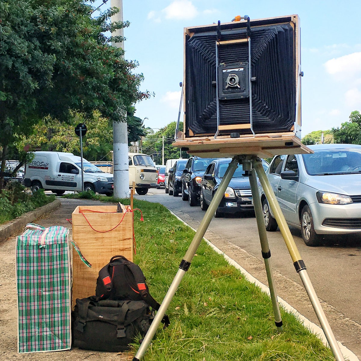 Camera setup to photograph gate in São Paulo. Protar 183mm installed, rear frame mounted forward position.