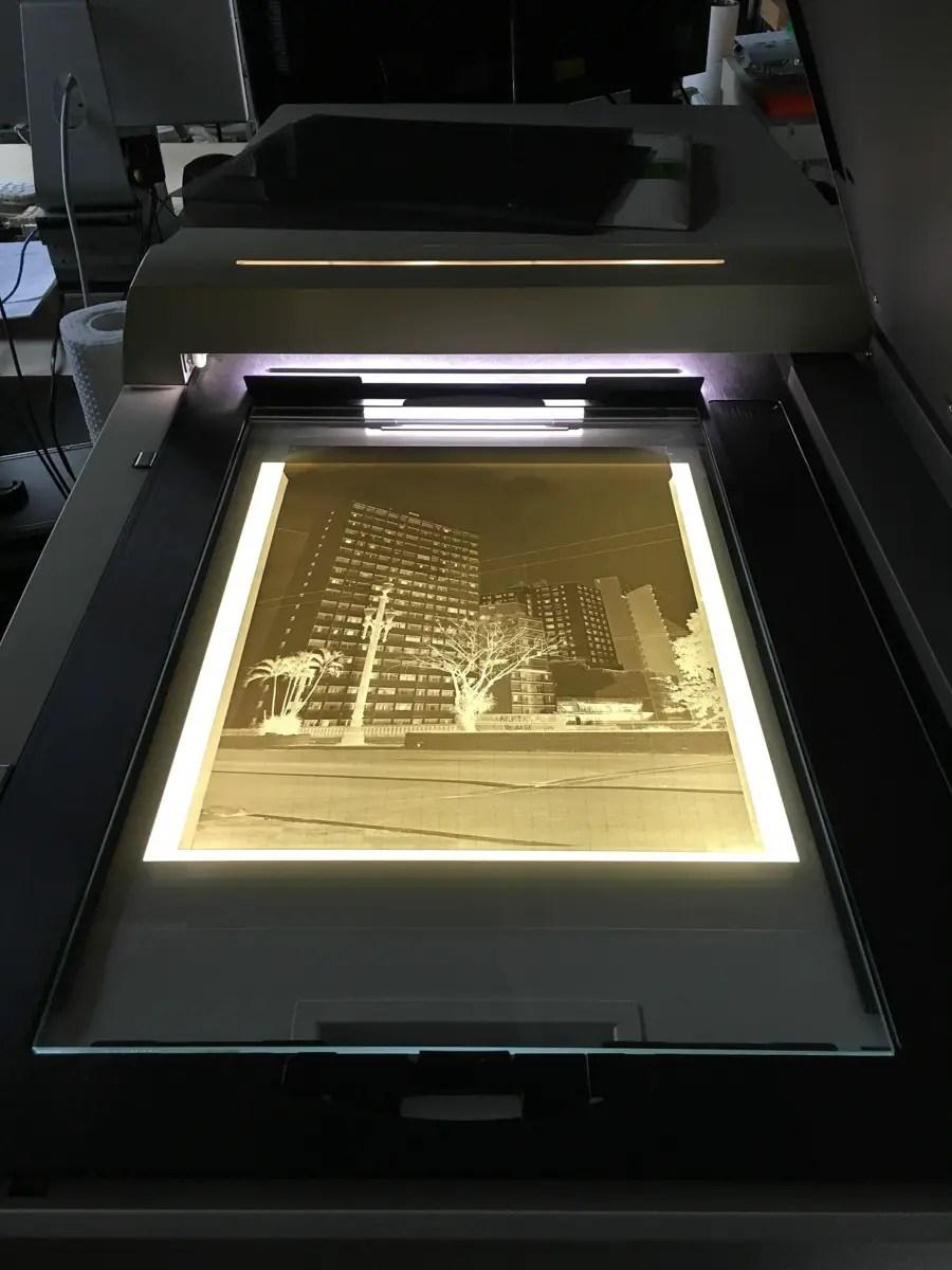 Negative of Avenida 9 de Julho #2 inside Cezanne scanner.