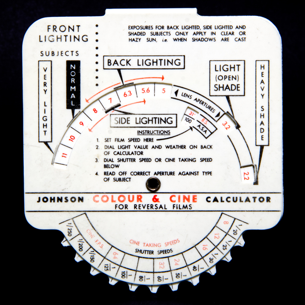 Johnson exposure calculator - slide films (front)