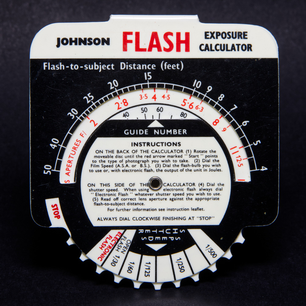 Johnson exposure calculator - flash (front)