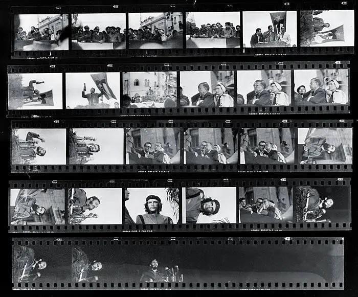 The contact sheet behind Alberto Korda's iconic photograph of Che Guevara