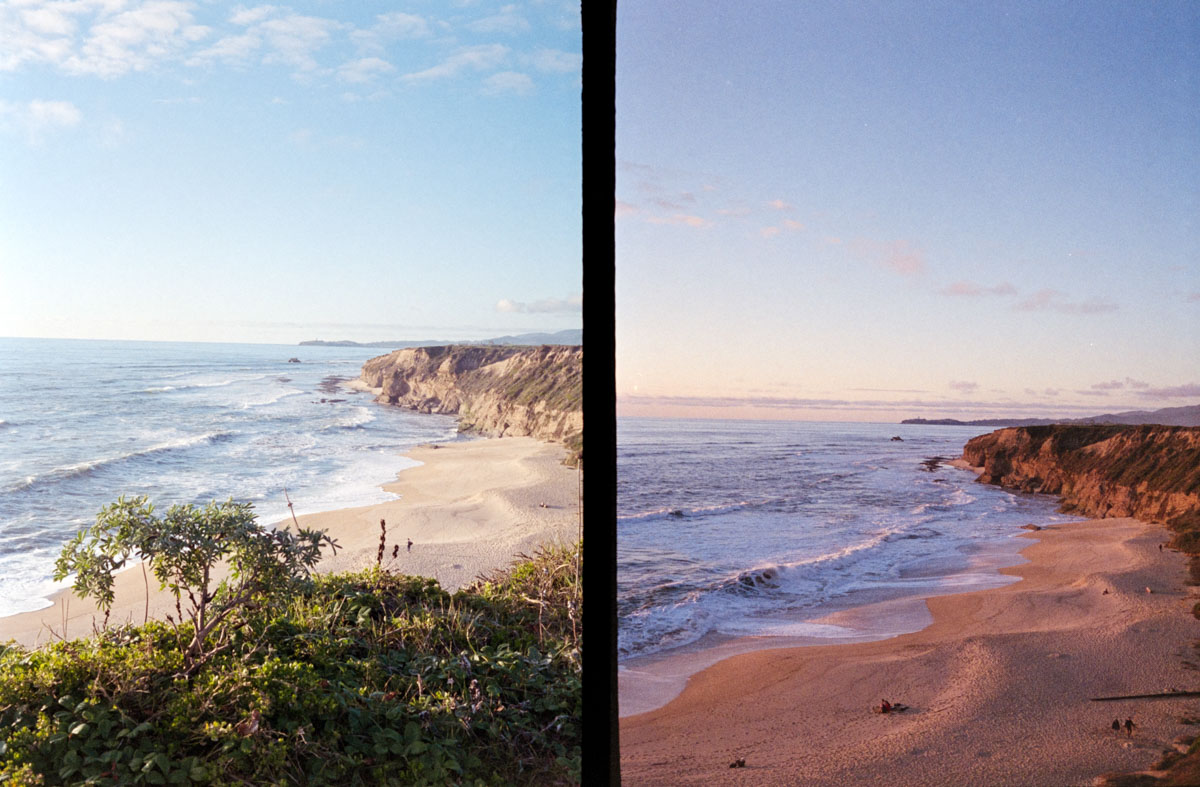 The classic before and after, Half Moon Bay - Canon Demi EE17, Fuji Superia X-TRA 400