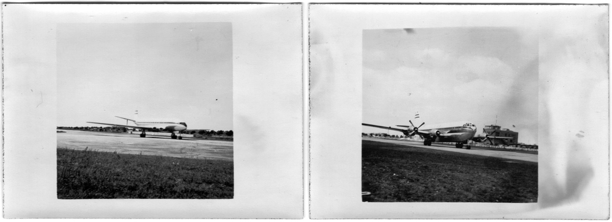 Original contact prints from c1952 of DH Comet and Boeing Stratocruiser, Kodak Autographic 2a