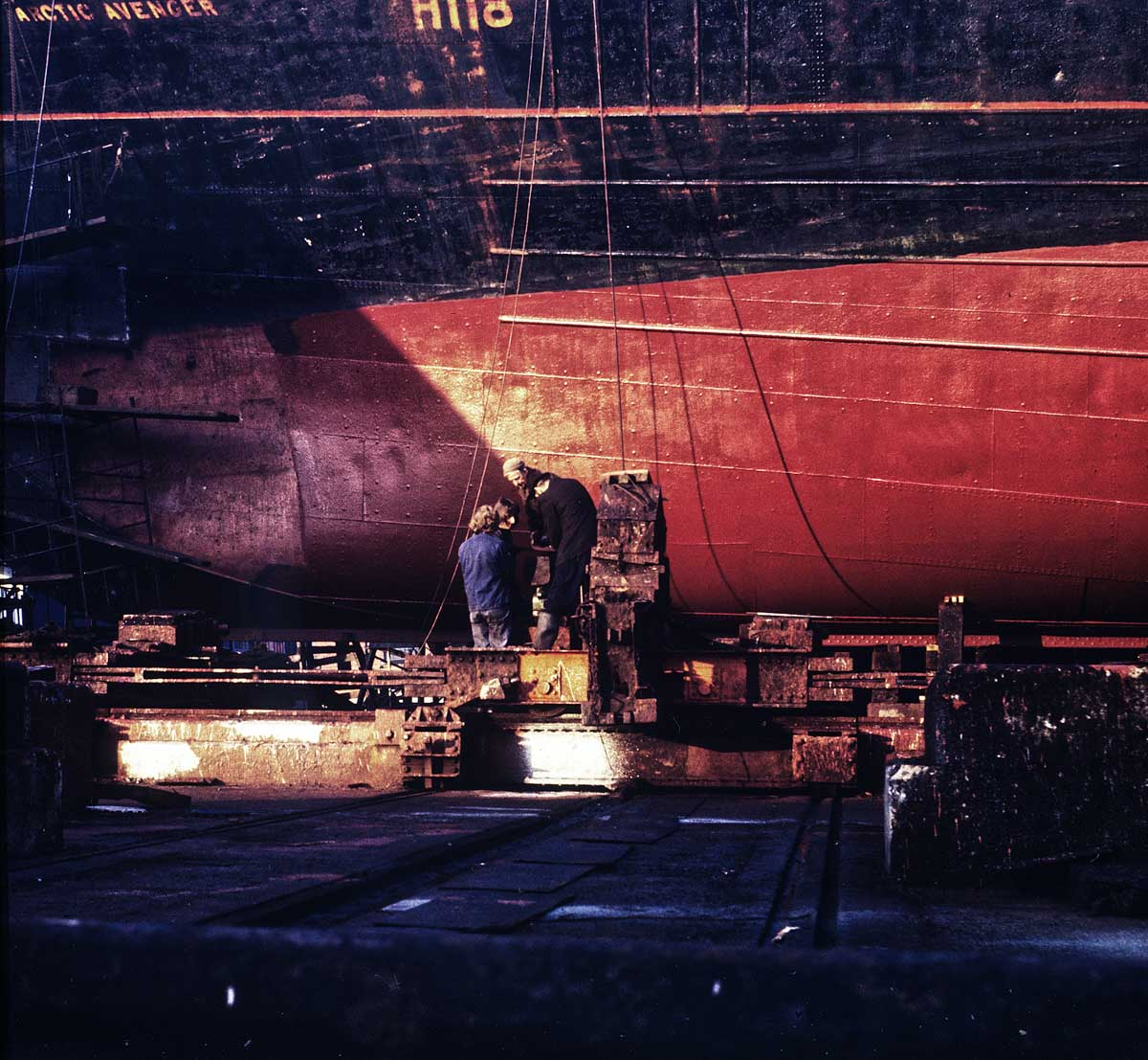 Repairing a deep sea trawler, Grimsby Docks, Grimsby, UK, Mamiya C33, 105 Sekor, Ektachrome