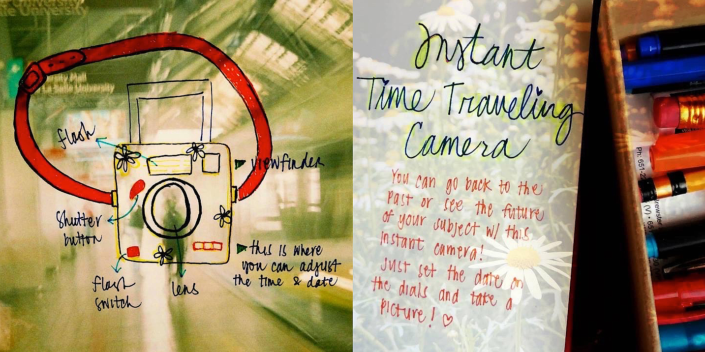 """NSTANT TIME TRAVELLING CAMERA BY @MILKFISH26 Here's my crazy-out-of-this-world dream camera! I hope I'm not too late. If you wonder how this works, it uses a special film that will take you to wherever and whenever you want to go. And if you still remember how Steve and Blue (Blue's Clues) go to another place, that's also what you're going to do to make this possible. You can skip the """"Skidooing"""" part and jump right into the photo you took! Happy shooting!"""