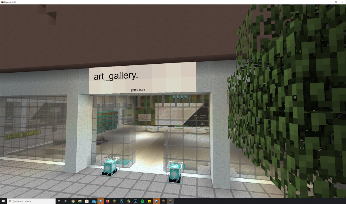 The main entrance of the Minecraft art gallery