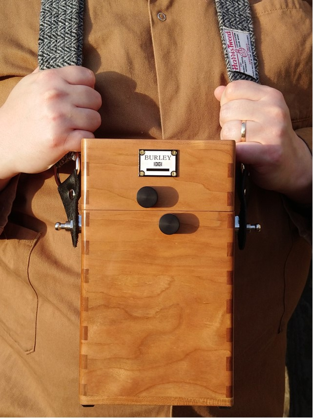 """A Burley Cameras 5x4"""" Film Holder Case. American Cherry timber with a lacquer finish. Indian ebony knobs."""