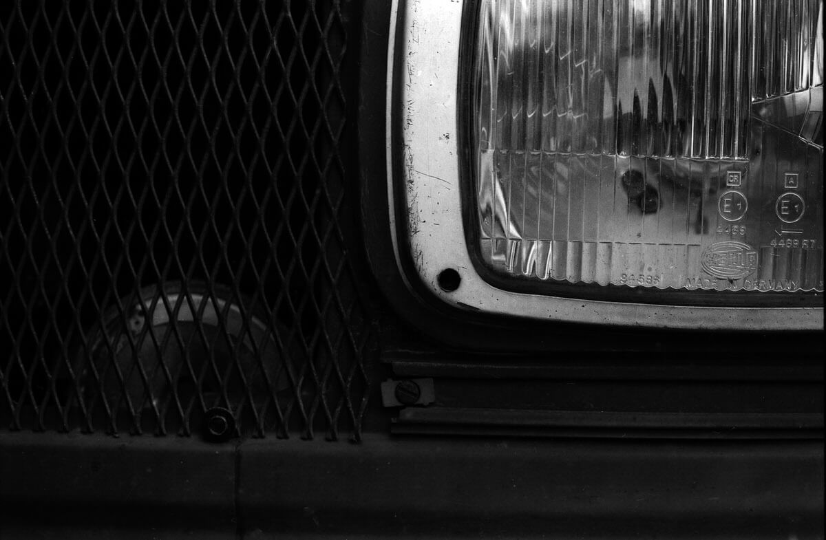 Mercedes Van Horn Lamp - ILFORD PAN F, Olympus OM-1 and Zuiko Auto-Macro 50mm f/3.5 - Mercedes van study