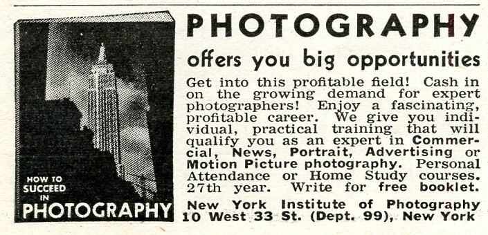 Popular Photo Issue 1, May 1937: NYIP Advert