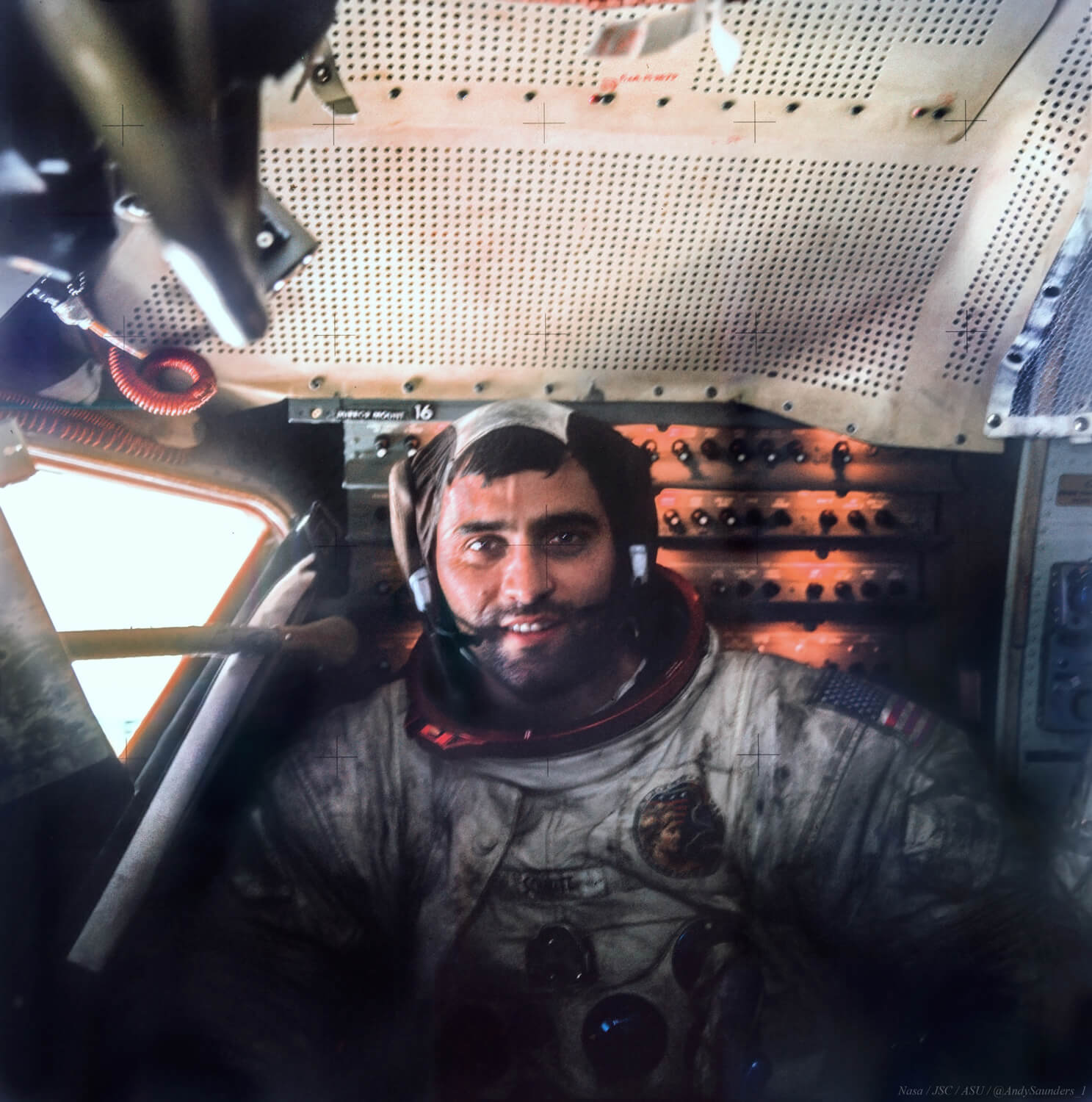 Now painstakingly remastered to reveal stunning detail of a tired but content looking Jack Schmitt in the Lunar Module, covered in Moon dust after his exhausting EVA.