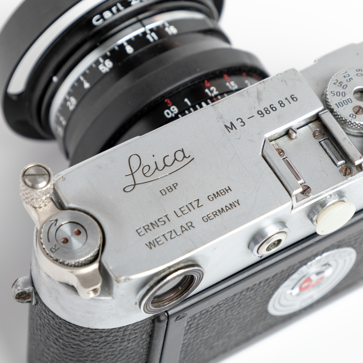 Silver chrome Leica M3 - Top plate engraving