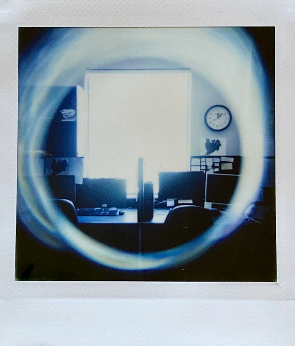 Low Light Office - Lomography Diana Instant Square and Fujifilm Instant Square film