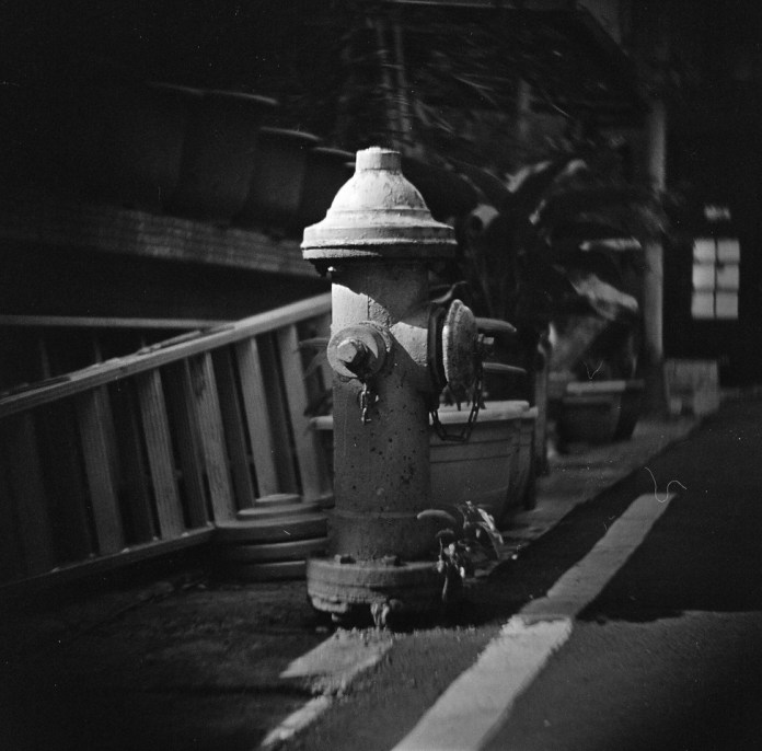Hydrant - Rollei Infrared 400 shot at EI 400. Black and white infrared sensitive film in 120 format shot as 6x6.