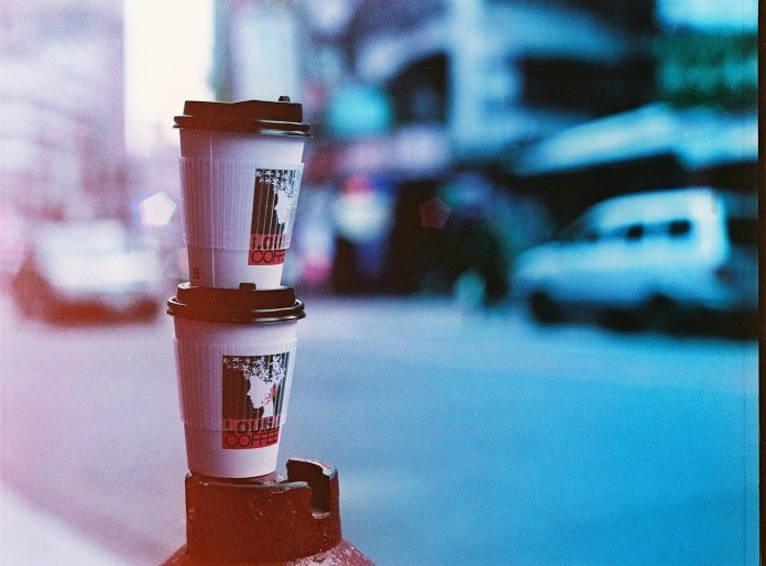 Coffee run - Lomography Lomochrome Purple XR 100-400 shot at EI 200. Color negative film in 120 format shot as 6x4.5.