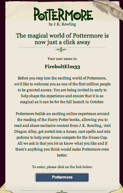Finally into Pottermore