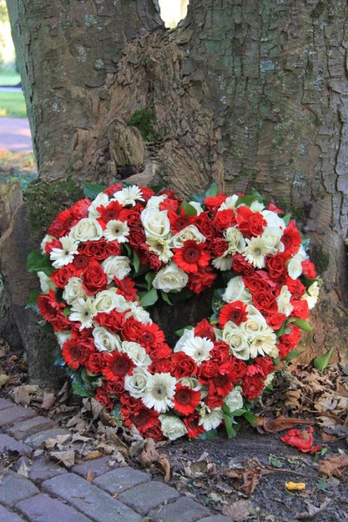 Roses and Gerbia Heart Wreath