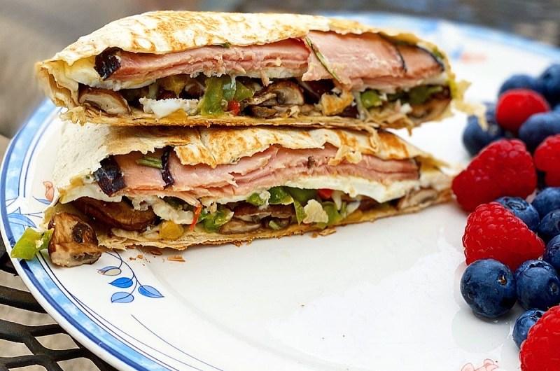Mediterranean Ham & Veggie Breakfast Crunch Wrap