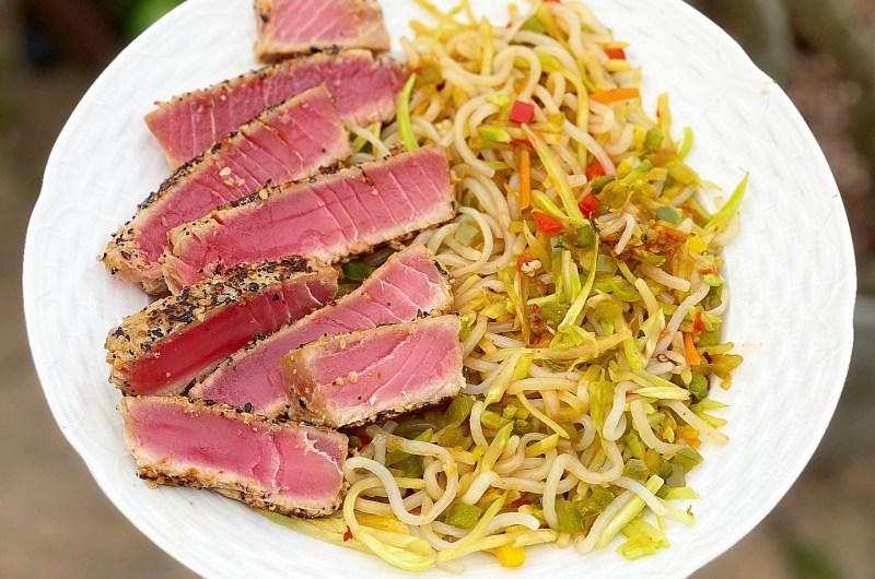 Seared Ahi Tuna Steak + Shirataki Noodle Stir Fry