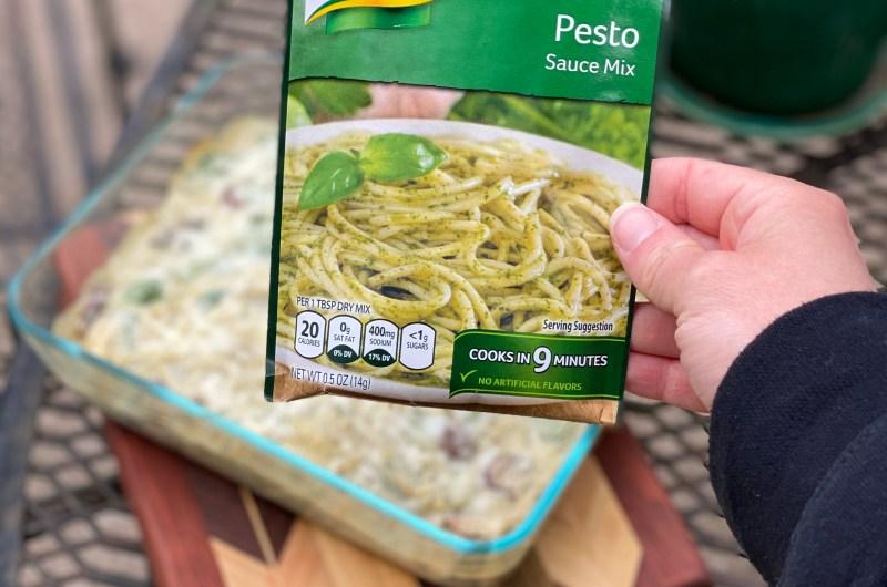 Single Serving Pesto Pasta Casserole