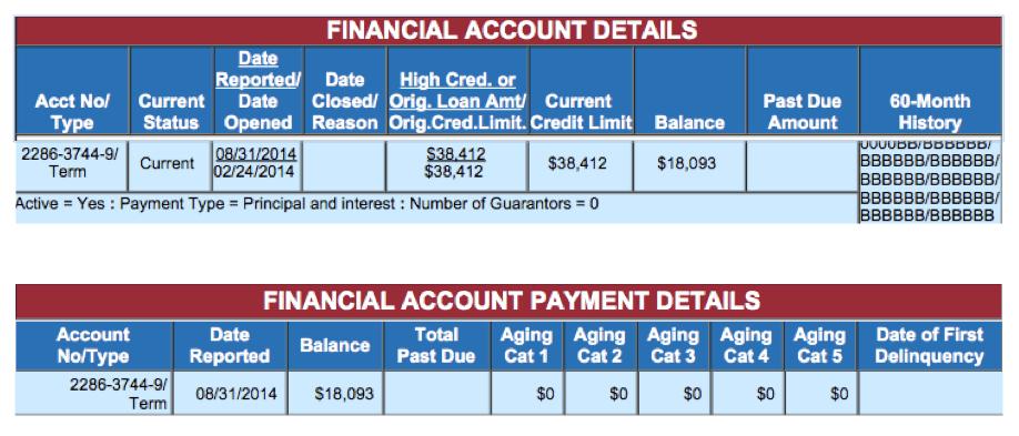 Equifax Account Detail