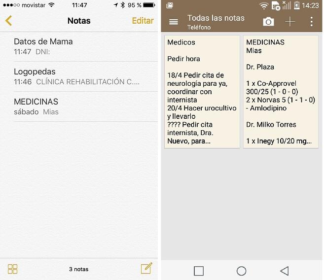 Pantallas de Menus de Notas en iPhone y Android