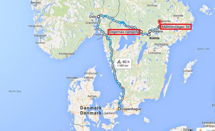 Itinéraire voyage à vélo Copenhague - Oslo - Köping