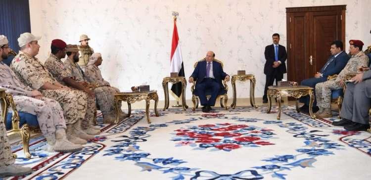 Hadi receives Arab Coalition military leaders