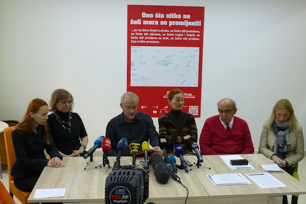 "Press conference of civic associations organized by the lesbian association Kontra, on which the appealed to citizens to the protest ""march against"" homophobic referendum on marriage."