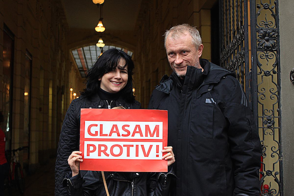 Nada and Zeljko as activists of the Center for Civil Courage in the campaign against the clerical  referendum on marriage.