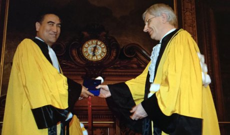 Former Xinjiang University President Tashpolat Teyip (L) at the University of Paris in an undated photo.