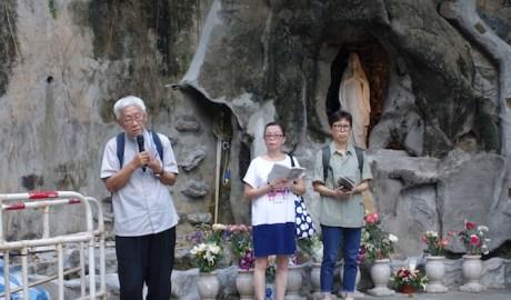 Cardinal Zen leads a prayer at St. Joseph Church, Central Hong Kong