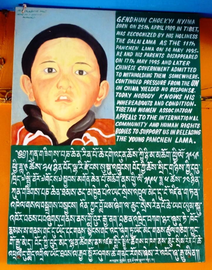 Poster in support of the genuine Panchen Lama.
