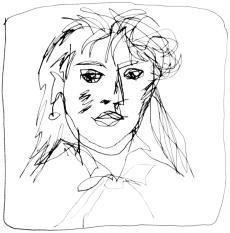 Dessin crayon du peintre Berthe Morisot par Puis de Chavanne