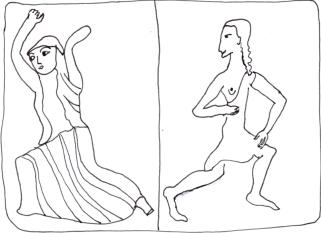 Small statues of Spartan women dancing fighting