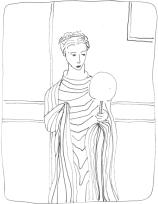 Terracotta statue of Roman patrician woman looking at herself in mirror